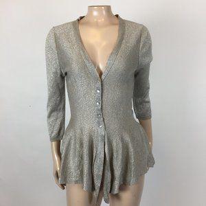 NEW Zara Knit Women's Sweater L Metallic Thin S35